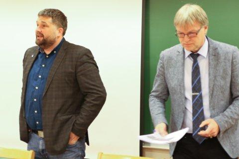 KLAR: Ordførar Leidulf Gloppestad (t.v.) stiller klare krav til rådmann Jan Kåre Fure (t.h.). Han vil ha nye brusjettrutiner, og høgre tempo i budsjettarbeidet.