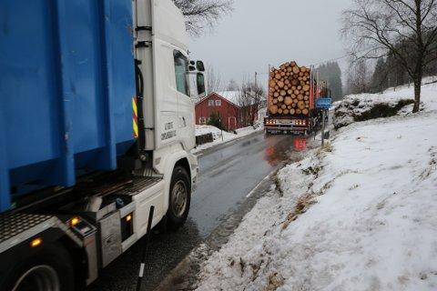 PROBLEMVEG: Fv57 byr på store problem for tømmertransporten og annan tungtrafikk.
