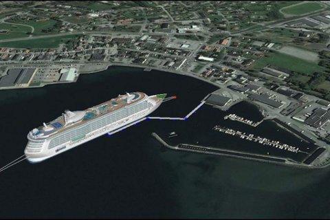 Denne illustrasjonen viser korleis det vil sjå ut når eit cruiseskip blir tatt imot på den kommande flytekaia i Nordfjordeid.