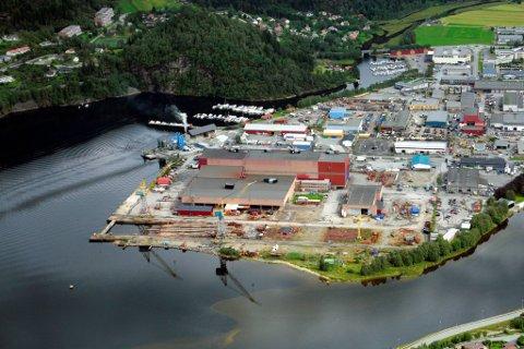 INDUSTRIOMRÅDE: Ankerløkken Eigedom AS eig i dag det tidlegare skipsveftet på Ytre Øyrane. Reguleringsplanen opnar for å fylle ut nye 23 dekar i sjøen til industriområde.