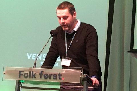 Kurt Jevnaker tok ordet på Venstre-landsmøtet.