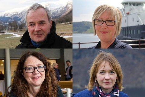 Oppe frå venstre: Steinar Ness (Sp), Frida Melvær (H). Nede frå Venstre: Ingrid Heggø (Ap) og Gunhild Berge Stang (V).