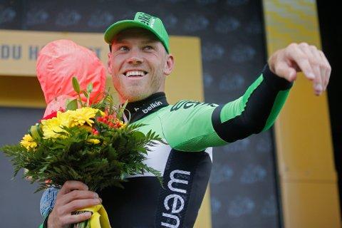 FAVORITT: Lars Boom etter å ha vunne ein etappe under Tour de France i 2014. No sit han på sykkelsetet når startskotet går i Balestrand neste veke.