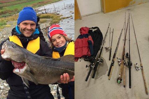 TILBAKE: Roar Øksendal (her saman med sonen sin), kunne torsdag hente dei stolne fiskestengene sine hos politiet. Onsdag vart ein person arrestert, etter ei rekke tjuveri den siste tida.