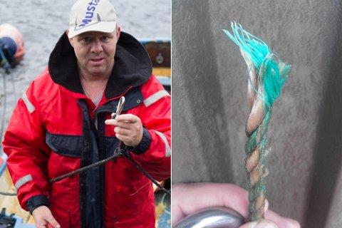 REPRISE: John Egil Svortevik vart i 2015 intervjua av Firda etter at båten hans dreiv på fjorden og vart funne nær ei mil unna. Han meinte då at fortøyinga var kutta, og onsdag kveld oppdaga han på ny at nokon hadde kutta dei (bildet til høgre).