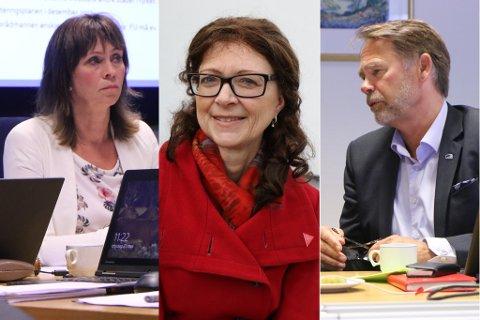 I KRYSSELD: Jenny Følling (t.v.) etterlyser kva Ingrid Heggø og Ap vil gi regionane, når dei kjem i regjering. Bjørn Hollevik (t.h.) meiner fylkes-Ap sitt nei til samanslåinga var pinleg.