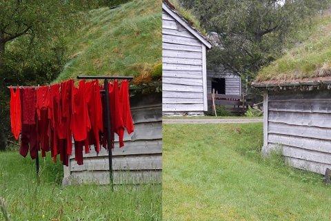 VEKK: Installasjonen som var eit tørkestativ med klede på, stod utanfor eldstova på Sunnfjord Museum i Movika. Søndag morgon var det borte vekk.