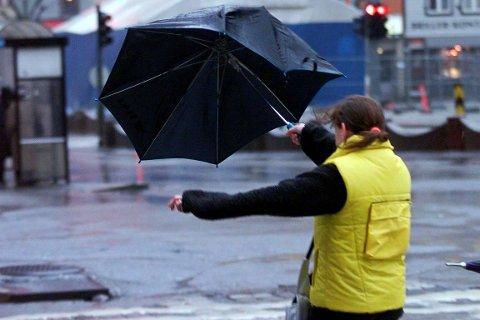 IKKJE AKKURAT PARAPLYVÊR: Det vert sterke vindkast og mykje regn i Førde onsdag.