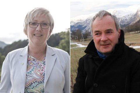 KANDIDATAR: Ei veke før valdagen kjempar Høgres Frida Melvær og Sps Steinar Ness jamsides om tredjemandatat. I det nye partibarometeret har Melvær mandatet inne – såvidt.