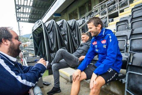 STEMNING: Både Håvard Flo (t.v.) og Eirik Bakke er samde i at stemninga mellom Brann og Sogndal har blitt betre, sjølv om dei framleis kranglar om spelarar og poeng.