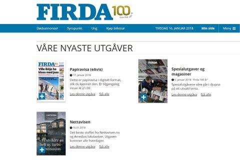 Du finn den nye digitale avisa saman med Firda si e-avis.