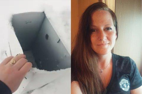 SPRENGT: Slik fann Sandra-Jeanett Østhus Pedersen postkassa si søndag morgon. Ho er heller ikkje den einaste.
