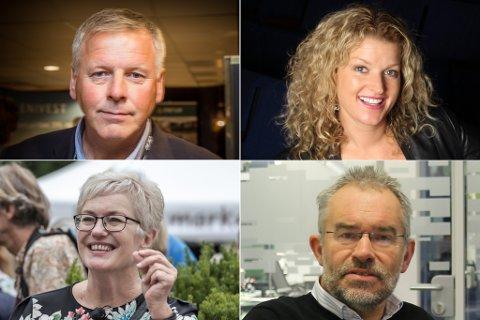 PÅ SØKJARLISTA: Hilde Bjørkum (nede t.v), Jan Heggheim (oppe t.v.) Trond Ueland (nede t.v.) og Anita Nordheim (oppe t.h.) er blant søkjarane.