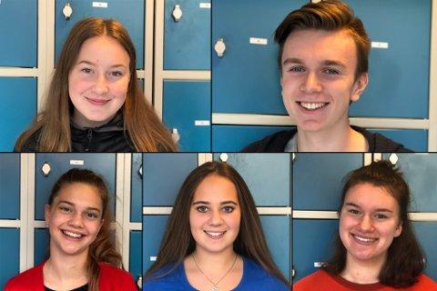 FEM OM MILJØ: Øvst frå venstre: Maya Johansen, Mathias Ask, Jana Grosse, Nora Birkeland og Charlotte Jacobs.