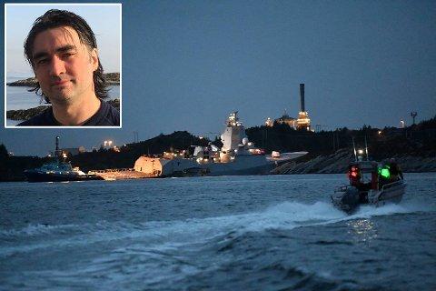 REDNINGSARBEIDET: Bengt Ronny Landøy-Midtbøen (40) frå Værlandet jobbar som redningsmann om bord på redningsskøyta, som i førre veke blei tilkalla då fregatten KNM Helge Ingstad og tankskipet Sola kolliderte.