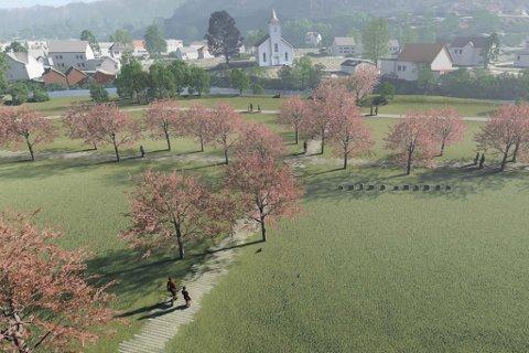FORSLAG: Slik ser forslaget til ny gravplass på Øyra ut. Forslaget vert presentert for kommunestyret i Fjaler 10. desember, men først neste år skal dei vedta kvar og korleis gravplassen vert sjåande ut.