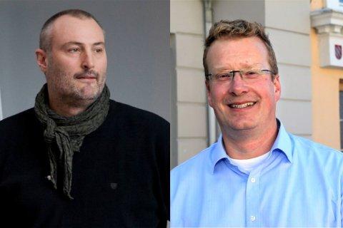 SAMARBEID: Rådmann i Naustdal Øyvind Bang Olsen og rådmann i Flora Knut Broberg skal drøfte samarbeid om grunnskular.