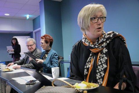 STORTINGSBENKEN: Høgres Frida Melvær (H) garanterte ikkje at representantane her frå fylket vil stå skulder ved skulder i nettleigesaka. I bakgrunnen f.v. fylkesordførar Jenny Følling (Sp) og stortingsrepresentantane Steinar Ness (Sp) og Ingrid Heggø (Ap).