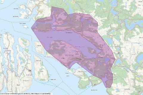 OMRÅDET: Kart over breibandsutbygginga i Hyllestad, i perioden 2014-2018. Husstandar innanfor det lilla området har, eller vil få høghastigheits breiband i løpet av året.