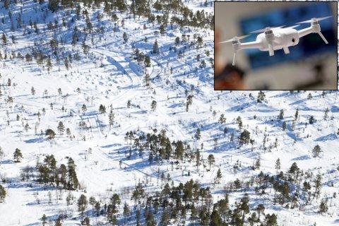 BLIR POLITMELDT: Ei drone vart meldt sakna av ein turist søndag ved Langeland, og flyginga blir no politimeldt. Bildet syner skiløypene eit tidlegare år, og den avbilda drona er eit eksempelbilde.