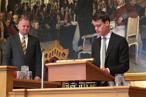FØRSTE DAG: Då det nyvalde Stortinget blei samla i oktober, la Storehaug fram forslag om utjamning av nettleiga.