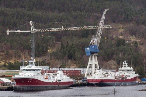 OPPTUR: Havyard Ship Technology AS i Leirvik i Hyllestad kommune er med dei nye kontraktene sikra full sysselsetjing ut 2019. (Arkivfoto.)