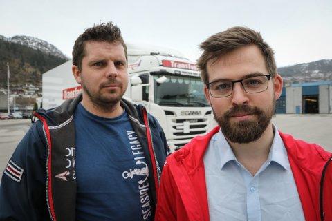 ROPTE VARSKU: – Vi risikerer ein kvardag der utanlandske transportørar får nesten frie hender, sa Asgeir Ripe (t.v.) og Torbjørn Vereide til Firda i april.