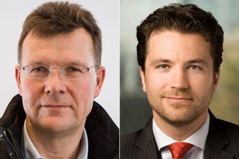 KAMP OM MINERAL: Nordic Minings Ivar S. Fossum (t.v.) hadde Tore Vian-Rønningen ved styrebordet i selskapet sitt fram til i fjor haust. No er dei blitt motstandarar.