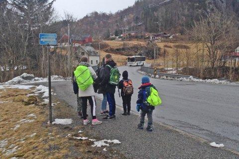 ØNSKER BUSSKUR: Elevrådet ved Holmedal Montessoriskule bad om busskur her. Dei er blitt tekne på alvor, og har fått svar både frå kommune og Statnes vegvesen.