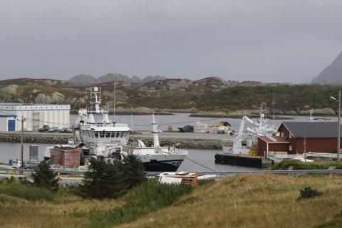 FOR LITA: Det er kaia til høgre i bilde, den som ligg framfor den raude sjøbua og er dekka med traktordekk, som skal utvidast. Per i dag ligg båten på baksida av sjøbua, men den kaia er altfor lita for den nye båten.