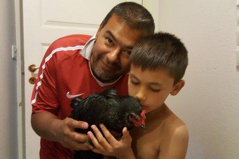 NYTT KJÆLEDYR? Teodor (8 i dag) trudde han hadde fått høna i bursdagsgåve, då den stod midt i stova då han kom heim frå skulen. Men no håpar familien at den rette eigaren skal melde seg.