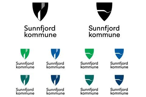 FORSLAGA: Dette er dei to alternativa som kan bli Sunnfjord kommune sitt nye kommunevåpen. Til venstre ser ein alternativ 1: «Fire elvar», og til høgre ser ein alternativ 2: «Vi er Sunnfjord kommune».
