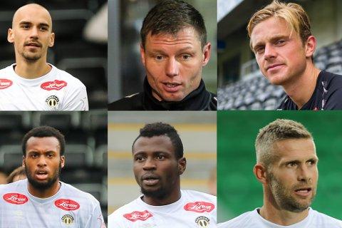 UTE: Oppe frå venstre: Nikita Baranov, Bjørn Helge Riise, Lars Christian Kjemhus, Reiss Greenidge, Akeem Latifu og Kjetil Wæhler.