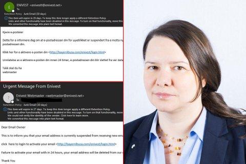 ÅTVARAR: Christiane Ulriksen i Enivest ber folk vere merksame på eit svindelforsøk som mange av deira kundar har fått på mail sidan tysdag.