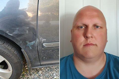 OPPGITT: Denne bulken oppdaga Roger Nordal då han kom tilbake til parkeringsplassen laurdag.