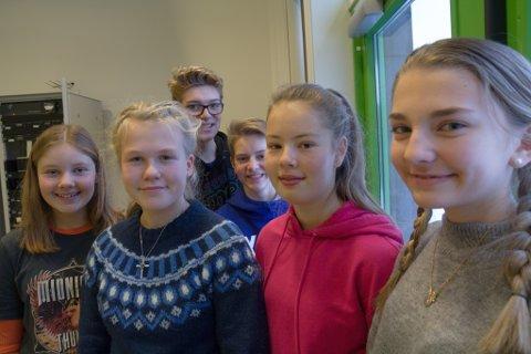 JURY: Klasse 9B ved Halbrend skule skriv meldingar til Uprisen 2019. Frå venstre: Sofie Storevik Solheim (14), Ronja Berg Eriksen (14), Anders Scheflo (14), Ivar Apalseth (14), Astrid Solheim Kiil (14) og Alida-Marie Ulvik (14).
