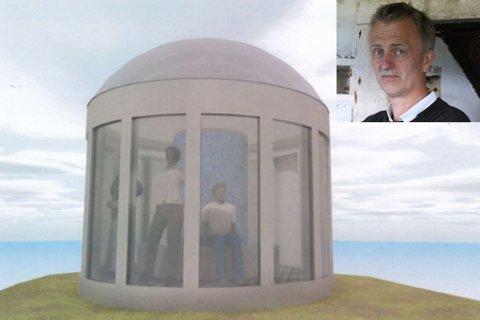 BLÅKLOKKA: Frode Haugen (innfelt) vil byggje ei glassklokke som folk kan sitte i for å sjå på stormen. Skissa er teikna av arkitekt Anita Søreide.