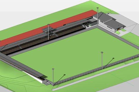 HEIMEBANA: Arne Helgheim meiner det er viktig at planen for eit nytt Førde stadion blir realisert. Skissa viser korleis stadion er tenkt der kunstgrasbana framfor Førdehuset ligg i dag.