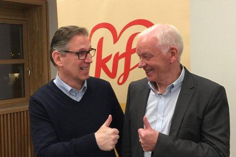 PÅ TOPP: Arnfinn Brekke og Svein Ottar Sandal toppar lista til KrF i Gloppen.