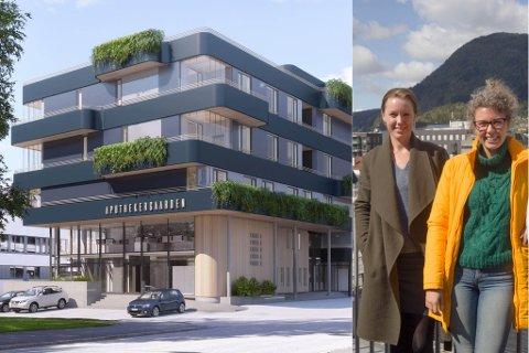 KLART I 2021: Her kjem det til å vere 14 omsorgsbustader når Apothekergaarden er innflygingsklar sommaren 2021. – Vi kallar prosjektet «livskvalitet på blå resept», seier arkitekt Therese Felde Haugseth (t.v). Her saman med interiørarkitekt Sara Ødven.