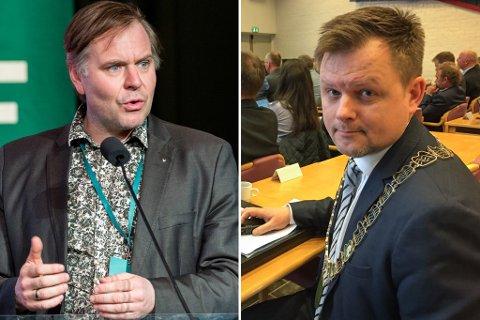 IKKJE FORNØGDE: Ordførarane Alfred Bjørlo (t.v.) og Jon Håkon Odd meiner omorganiseringa til Statens vegvesen er ei sentralisering.