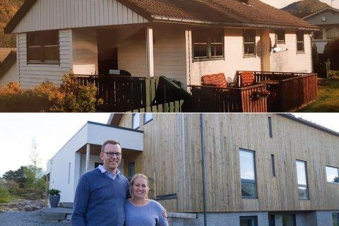 NYTT HUS: Ole André Aae og Ane Austrheim reiv heile huset til faren til Ole André og bygde eit nytt. No bur dei tre generasjonar under same tak. Familien har hus på Nordåsen på Sandane.