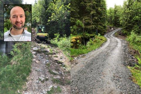 FØR OG ETTER: Her ser du bilde frå før og etter arbeidet. Tor Vidar Myklebust ville heller ha stien slik den var. Kommunen og grannelaget har laga grusvegen for å få fleire ut i naturen.