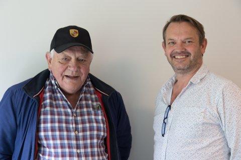 GÅR VIDARE: Arne Stang (t.v.) og Roy Sævik er sentrale i oppbygginga av Norsk Bergsikring. Stang har gått inn med mange millionar som sikrar vidare drift trass store underskot.