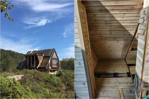DAGSTURHYTTA I GULEN: No er dagsturhytta i Gulen komen på plass på Løypingåsen i Eivindvik. Men nokon har stole solcellepanelet. Det likte ikkje dagleg leiar i Reknes Byggjevarer LL.