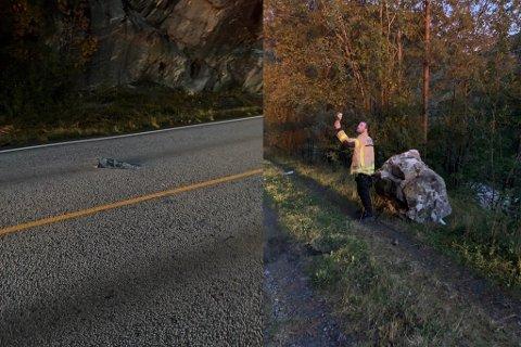 E39: Ein stein har treft vegen, laga hol i asfalten og deretter trilla ned til ein skogsveg lenger nede.