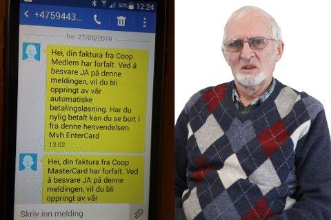 LET SEG IKKJE LURE: Audun Høvik (83) forstod med ein gong at dette er svindel. Han vil likevel åtvare andre mot å svare på denne typen SMS.