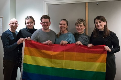 NYTT STYRE: Leif Jarle Espedal,  Mathilde Helena Forsell, Simon Kvile, Anne Oline Gullaksen, Tove Nedrebø og Sandra Tenud (leiar) er det nye styret i SoFjo Pride.