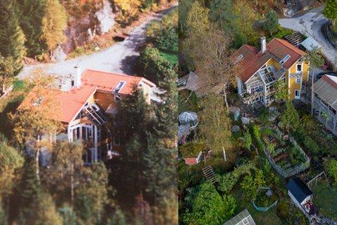 FØR OG NO: 20 år skil bileta av eigedommen til Marit Bendz og Jan-Ludvig Hundvebakke. Den har forvandla seg frå skog til mikrobruk.
