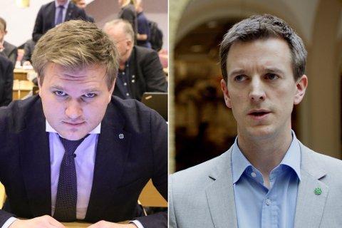 DUELL: Sunnfjord Senterparti vil førebels ikkje ta stilling til duellen mellom Aleksander Øren Heen (t.v.) og Erling Sande. Lokallagsleiar Ole Johnny Stubhaug forventar å få noko att for å gje si støtte.